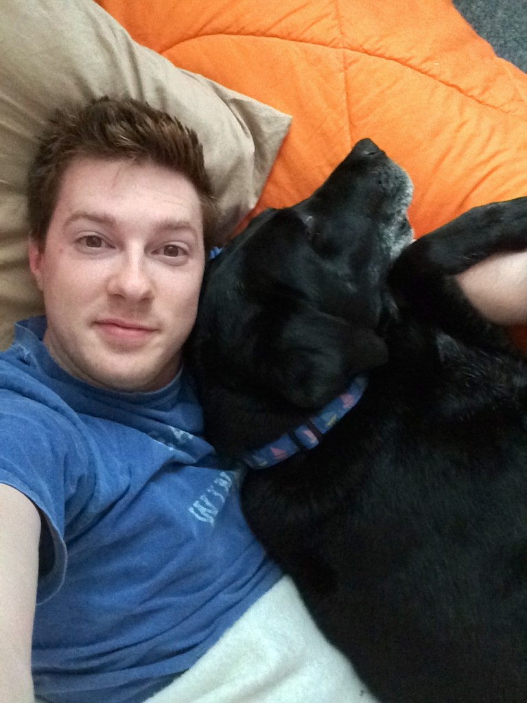 My dog loves to cuddle, but he only likes to be the little spoon.